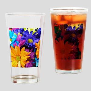 Vibrant Neon Gerbera Daisies Drinking Glass