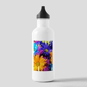 Vibrant Neon Gerbera Daisies Water Bottle