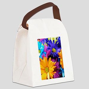 Vibrant Neon Gerbera Daisies Canvas Lunch Bag