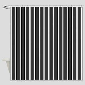'Black Pinstripe' Shower Curtain
