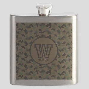 Geek Camouflage Monogram Flask