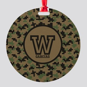 Geek Camouflage Monogram Round Ornament