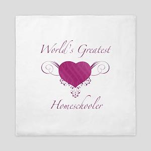 World's Greatest Homeschooler (Heart) Queen Duvet