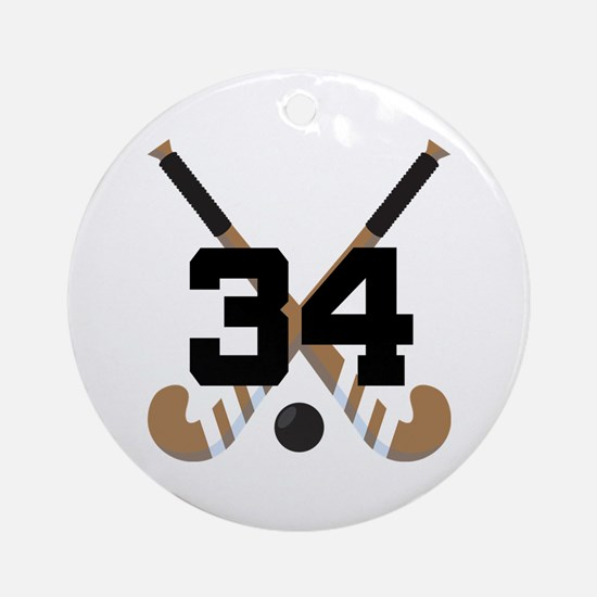 Field Hockey Number 34 Ornament (Round)