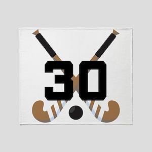 Field Hockey Number 30 Throw Blanket