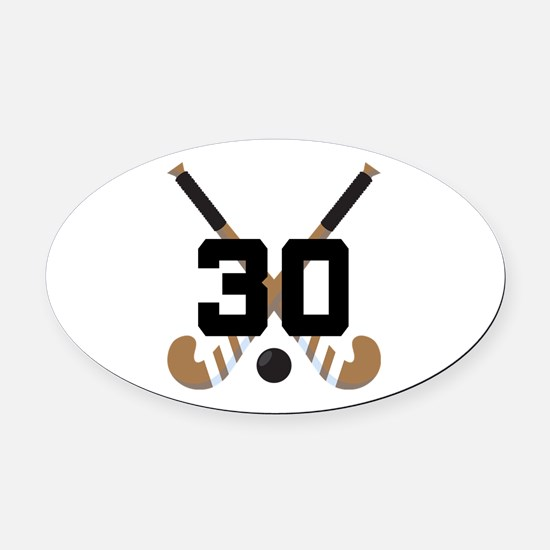 Field Hockey Number 30 Oval Car Magnet