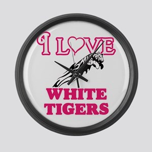 I Love White Tigers Large Wall Clock