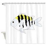 Sergeant Major Damselfish fish Shower Curtain