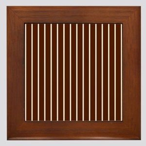 'Brown Pinstripe' Framed Tile