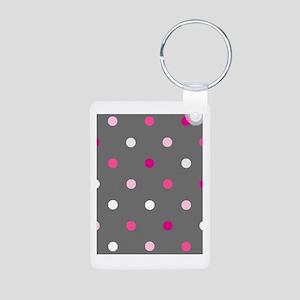 'Gray Dotty' Aluminum Photo Keychain