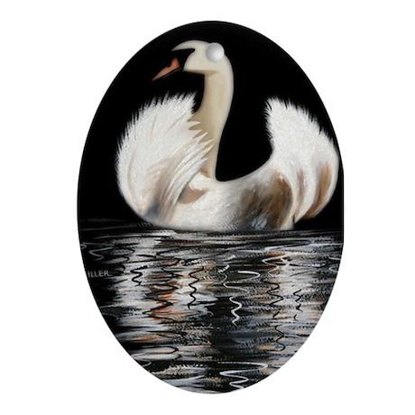 Swan Oval Ornament