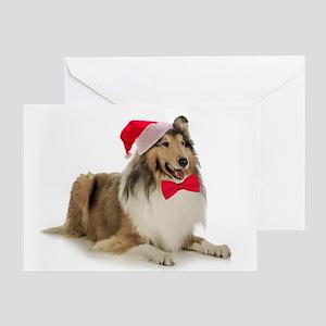 Santa Collie Christmas Card