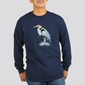 Watercolor Great Blue Heron Bird Long Sleeve T-Shi