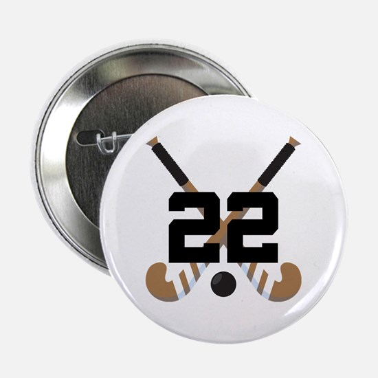 """Field Hockey Number 22 2.25"""" Button"""