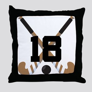 Field Hockey Number 18 Throw Pillow