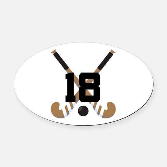 Field Hockey Number 18 Oval Car Magnet