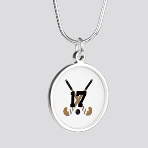 Field Hockey Number 17 Silver Round Necklace