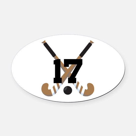 Field Hockey Number 17 Oval Car Magnet