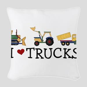 I Love Trucks Woven Throw Pillow