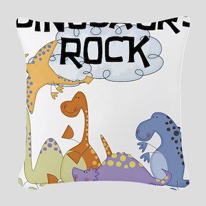 dinosaursrockk Woven Throw Pillow