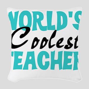 worldcoolestteacherblack Woven Throw Pillow