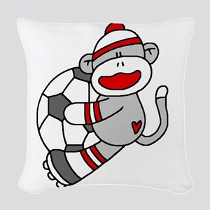 sockmonkeysoccertee Woven Throw Pillow