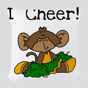 monkeycheergreengold Woven Throw Pillow