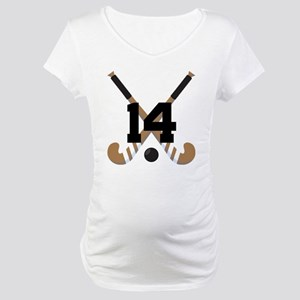 Field Hockey Number 14 Maternity T-Shirt
