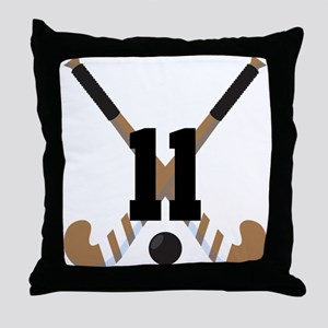 Field Hockey Number 11 Throw Pillow