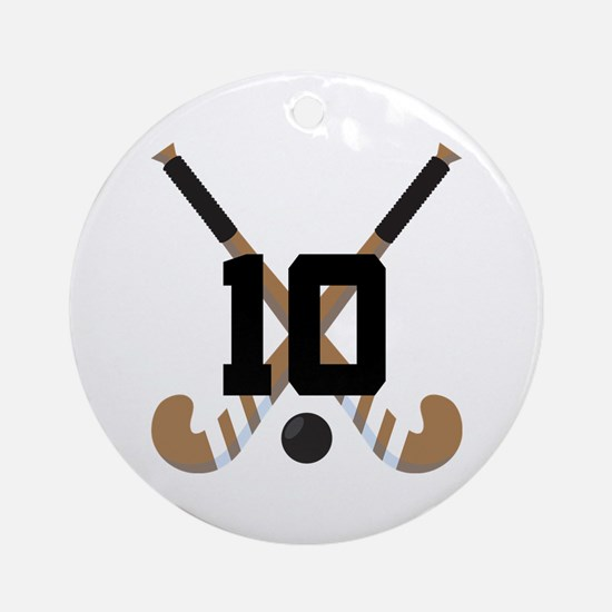 Field Hockey Number 10 Ornament (Round)