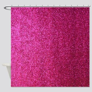 Hot pink faux glitter Shower Curtain