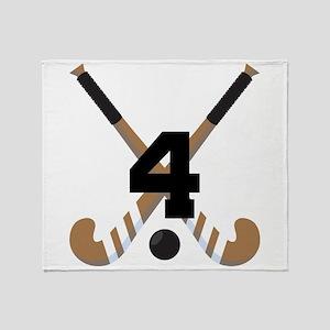 Field Hockey Number 4 Throw Blanket