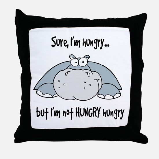 Hippo Hungry Throw Pillow