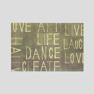 'love, life, art, happy, dance, - Rectangle Magnet