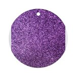 Purple faux glitter Ornament (Round)