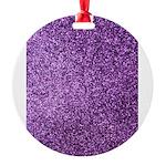Purple faux glitter Round Ornament