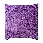Purple faux glitter Woven Throw Pillow