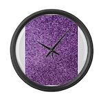Purple faux glitter Large Wall Clock