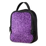Purple faux glitter Neoprene Lunch Bag