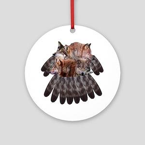 4 Wolves Dreamcatcher Ornament (Round)
