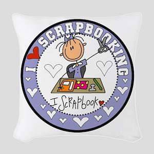 I Love Scrapbooking Woven Throw Pillow