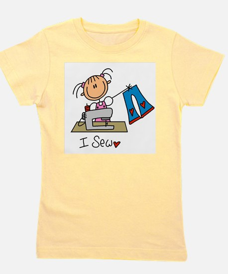 I Sew Stick Figure Girl's Tee