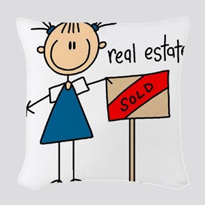 realestatestickfig Woven Throw Pillow