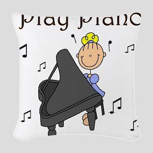 I Play Piano Woven Throw Pillow