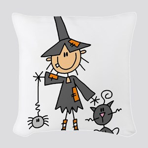 WITCHSTICKWITHCAT Woven Throw Pillow