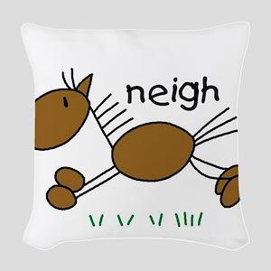 horseneigh Woven Throw Pillow