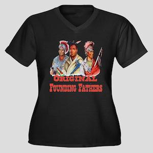 Original Fou Women's Plus Size V-Neck Dark T-Shirt