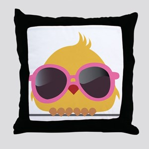 Chick Wearing Sunglasses Throw Pillow