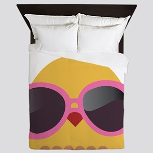 Chick Wearing Sunglasses Queen Duvet