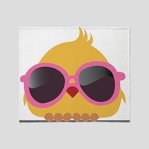 Chick Wearing Sunglasses Throw Blanket